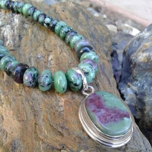 Jewelry - Sterling Silver Ruby Zoisite NECKLACE